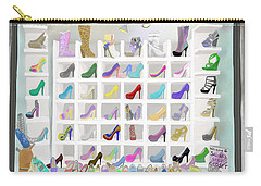 Carry-all Pouch featuring the painting Salina's Shoe Closet by Melinda Ledsome