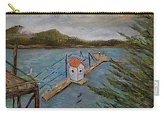 Carry-all Pouch featuring the painting Salmon Hatchery, Juneau, Alaska by Judith Rhue