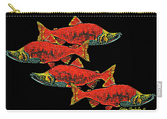 Salmon Season Carry-all Pouch by Debbie Chamberlin