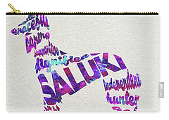 Carry-all Pouch featuring the painting Saluki Dog Watercolor Painting / Typographic Art by Ayse and Deniz