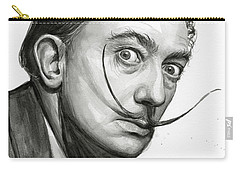 Salvador Dali Portrait Black And White Watercolor Carry-all Pouch