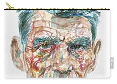 Carry-all Pouch featuring the painting Samuel Beckett Watercolor Portrait.10 by Fabrizio Cassetta