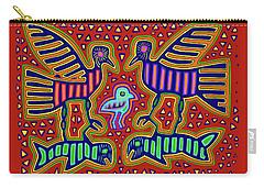 Carry-all Pouch featuring the digital art San Blas Kuna Bird Family With Fish by Vagabond Folk Art - Virginia Vivier
