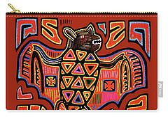 Carry-all Pouch featuring the digital art San Blas Kuna Indian Bat by Vagabond Folk Art - Virginia Vivier