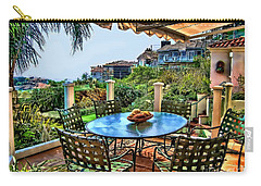 Carry-all Pouch featuring the digital art San Clemente Estate Patio by Kathy Tarochione
