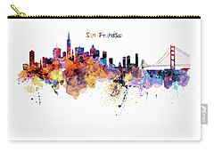 San Francisco Watercolor Skyline Carry-all Pouch by Marian Voicu