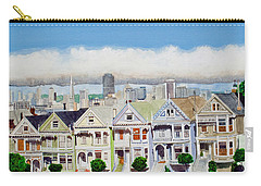 San Francisco's Painted Ladies Carry-all Pouch by Mike Robles