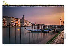 San Marco Campanile With Gondolas At Grand Canal During Calm Sunrise, Venice, Italy, Europe. Carry-all Pouch