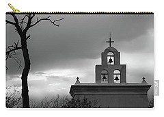San Xavier Bell Tower 5 Bw Carry-all Pouch by Mary Bedy