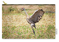 Carry-all Pouch featuring the photograph Sandhill Crane Morning Stretch by Ricky L Jones