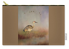 Sandhill Crane - Painterly Vertical Carry-all Pouch
