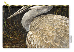 Carry-all Pouch featuring the painting Sandhill Crane - Realistic Bird Wildlife Art by Karen Whitworth