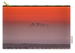 Sandhill Cranes In Fog At Sunrise Carry-all Pouch