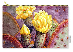 Carry-all Pouch featuring the painting Santa Rita Prickly Pear Cactus by Marilyn Smith