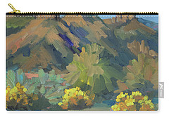 Carry-all Pouch featuring the painting Santa Rosa Mountains And Brittle Bush by Diane McClary