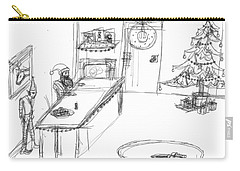 Carry-all Pouch featuring the drawing Santas Chrismassy Office by Artists With Autism Inc