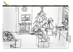 Carry-all Pouch featuring the drawing Santas Delivery by Artists With Autism Inc