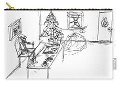 Carry-all Pouch featuring the drawing Santas Office by Artists With Autism Inc