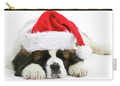 Santa's Snoozing Saint Bernard Carry-all Pouch