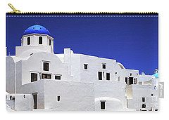 Carry-all Pouch featuring the photograph Santorini Greece Architectual Line 6 by Bob Christopher