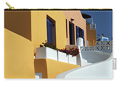 Carry-all Pouch featuring the photograph Santorini Greece Architectual Line by Bob Christopher