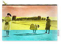Carry-all Pouch featuring the painting Sarasota Series Beachcombers by Edward Fielding