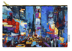 Saturday Night In Times Square Carry-all Pouch by Elise Palmigiani
