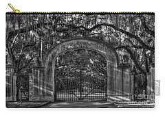 Carry-all Pouch featuring the photograph Savannah's Wormsloe Plantation Gate Bw Live Oak Alley Art by Reid Callaway