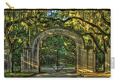 Carry-all Pouch featuring the photograph Savannah's Wormsloe Plantation Gate Live Oak Alley Art by Reid Callaway