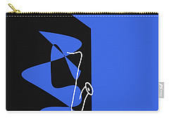 Saxophone In Blue Carry-all Pouch by David Bridburg