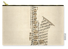 Saxophone Old Sheet Music Carry-all Pouch