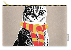 Scarf Weather Cat- Art By Linda Woods Carry-all Pouch