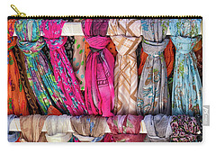 Scarves In Mykonos Carry-all Pouch by John Hoey