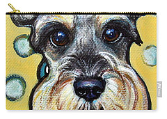Schnauzer With Polkadots Carry-all Pouch by Rebecca Korpita