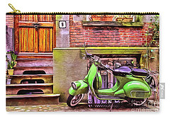 Carry-all Pouch featuring the painting Scooter Parking Only by Edward Fielding