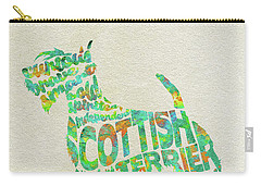 Carry-all Pouch featuring the painting Scottish Terrier Dog Watercolor Painting / Typographic Art by Ayse and Deniz