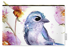 Carry-all Pouch featuring the painting Scrub Jay In The Wildflowers by Dawn Derman