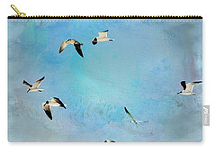 Carry-all Pouch featuring the photograph Sea Gulls In Flight by Athala Carole Bruckner