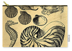 Carry-all Pouch featuring the drawing Sea Life Vintage Illustrations by Edward Fielding