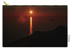 Sea, Mountains, Sunset, Sun Sinking Over The Horizon Carry-all Pouch