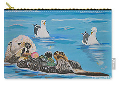 Carry-all Pouch featuring the painting Sea Otter And Guardians by Phyllis Kaltenbach