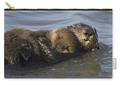 Sea Otter Mother With Pup Monterey Bay Carry-all Pouch by Suzi Eszterhas