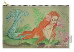 Sea Siren, Resting -- Whimsical Mermaid Drawing Carry-all Pouch