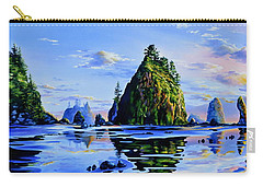 Carry-all Pouch featuring the painting Sea Stack Serenity by Hanne Lore Koehler