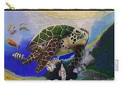 Sea Turtle Acrylic Painting Carry-all Pouch by Thomas J Herring