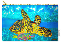 Sea Turtle And Parrotfish Carry-all Pouch