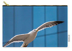 Seabird Flying On The Glass Building Background Carry-all Pouch