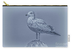 Seagull On Post In Blue Carry-all Pouch by Randy Steele