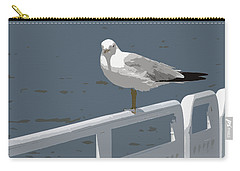 Seagull On The Rail Carry-all Pouch by Michelle Calkins