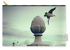 Carry-all Pouch featuring the photograph Seagulls In Columns Dock by Carlos Caetano